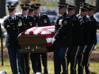 The casket of U.S. Army Sgt. First Class Matthew McClintock, is carried during a full honors buial service at Arlington Cemetery, February 7, 2016 in Arlington, Virginia. Sgt. McClintock was killed in action on January 5, 2016 in Afghanistan, during a mission to rescue a fellow soldier who'd been shot. …