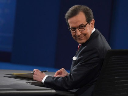 Debate moderator Chris Wallace looks on prior to the third and final US presidential debate between Democratic nominee Hillary Clinton and Republican nominee Donald Trump at the Thomas & Mack Center on the campus of the University of Las Vegas in Las Vegas, Nevada on October 19, 2016. / AFP …