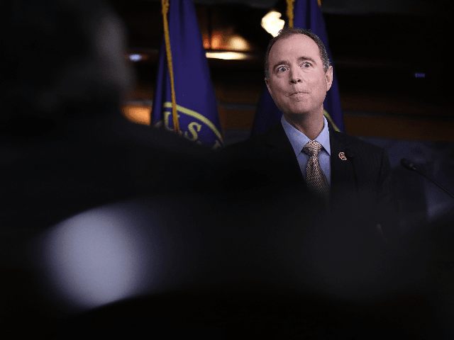 Rep. Adam Schiff (D-CA), ranking member of the House Permanent Select Committee on Intelligence, responds to committee chairman Devin Nunes's comments earlier in the day about incidental collection of communications relating to U.S. President Donald Trump during the period of the presidential transition March 22, 2017 in Washington, DC. During …