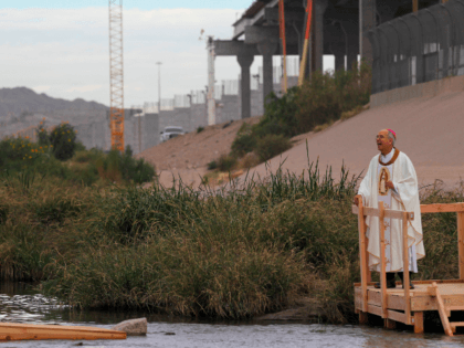 The Catholic bishop of El Paso, Texas, Mark Seitz, participates in a binational mass attended by hundreds of Mexican and US Catholics across the border, held in memory of migrants killed by crossing the Rio Bravo in their attempt to reach the United States in Ciudad Juarez, Chihuahua state, Mexico …