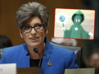 "(INSET: The Department of Energy [DOE] mascot ""The Green Reaper"") WASHINGTON, DC - July 11: Sen. Joni Ernst (R-IA) speaks during a Commerce Committee hearing on paid family leave July 11, 2018 on Capitol Hill in Washington, DC. Legislators are hoping to add a paid family leave component to the …"