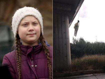 Greta Thunberg effigy hung from Rome bridge