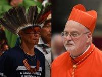 Amazon headdress and cardinal's berretta
