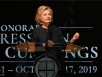 Former Secretary of State Hillary Clinton speaks during funeral services for late U.S. Representative Elijah Cummings (D-MD) at the New Psalmist Baptist Church October 25, 2019 in Baltimore, Maryland. A sharecropper's son who rose to become a civil rights champion and the chairman of the powerful House Oversight and Government …