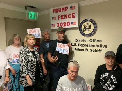 Adam Schiff protest (Joel Pollak / Breitbart News)
