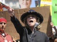 Actress and activist Jane Fonda talks to a crowd of protestors during a global climate rally at Pershing Square in downtown Los Angeles on Friday, Sept. 20, 2019. A wave of climate change protests swept across the globe Friday, with hundreds of thousands of young people sending a message to …