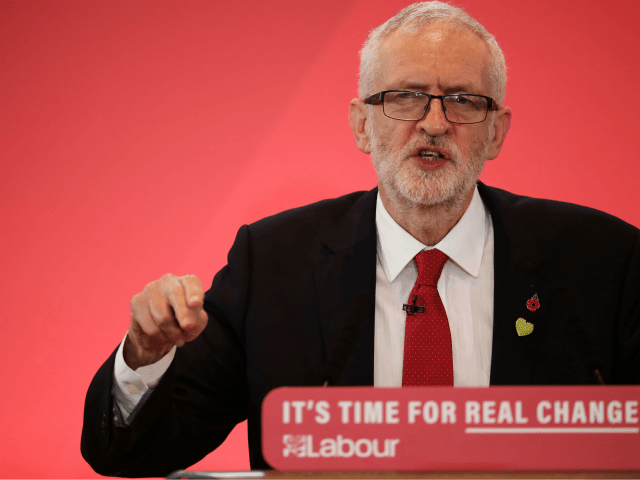 BATTERSEA, ENGLAND - OCTOBER 31: Labour leader Jeremy Corbyn gestures as he gives his election campaign speech on October 31, 2019 in Battersea, England. Jeremy Corbyn launched the Labour Party's General Election campaign in Battersea this morning vowing to transform the UK and promising to rebuild public services. He hit …