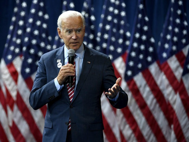 Democratic presidential candidate and former U.S Vice President Joe Biden speaks during the 2020 Gun Safety Forum hosted by gun control activist groups Giffords and March for Our Lives at Enclave on October 2, 2019 in Las Vegas, Nevada. Nine Democratic candidates are taking part in the forum to address …