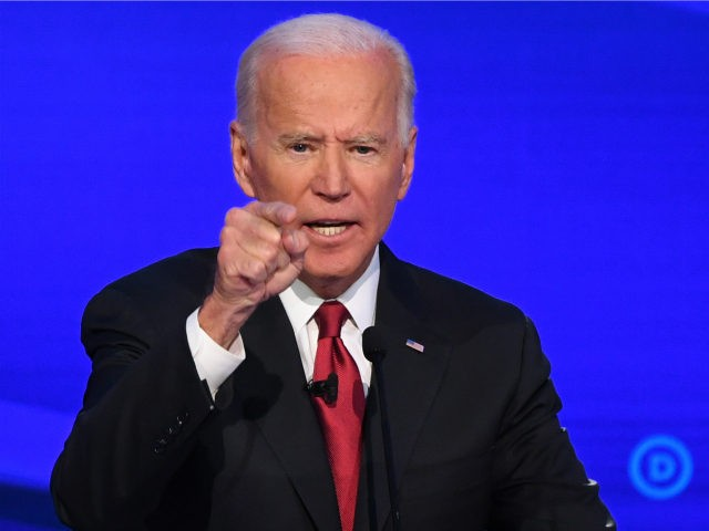 Democratic presidential hopeful former US Vice President Joe Biden gestures during the fourth Democratic primary debate of the 2020 presidential campaign season co-hosted by The New York Times and CNN at Otterbein University in Westerville, Ohio on October 15, 2019. (Photo by SAUL LOEB / AFP) (Photo by SAUL LOEB/AFP …
