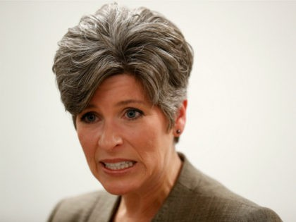 In this Sept. 21, 2017, file photo, Sen. Joni Ernst, R-Iowa, speaks to reporters following a town hall meeting in Charles City, Iowa. Prominent Republican women say they're frustrated by President Donald Trump's handling of abuse charges against men in the White House's midst. Ernst, said on CNN that she's …