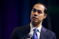 WASHINGTON, DC - OCTOBER 28: Democratic presidential candidate and former housing secretary Julian Castro is interviewed by former Obama Administration officials Ben Rhodes and Tommy Vietor during the J Street National Conference at the Walter E. Washington Convention Center October 28, 2019 in Washington, DC. Buttigieg and three other presidential …