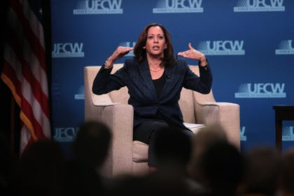 ALTOONA, IOWA - OCTOBER 13: Democratic presidential candidate Sen. Kamala Harris (D-CA) speaks to guests at the United Food and Commercial Workers' (UFCW) 2020 presidential candidate forum on October 13, 2019 in Altoona, Iowa. With 1.3 million members the UFCW is America's largest private sector union. The 2020 Iowa Democratic …