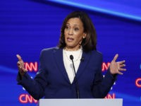 Democratic presidential candidate Sen. Kamala Harris, D-Calif., speaks during a Democratic presidential primary debate hosted by CNN/New York Times at Otterbein University, Tuesday, Oct. 15, 2019, in Westerville, Ohio. (AP Photo/John Minchillo)