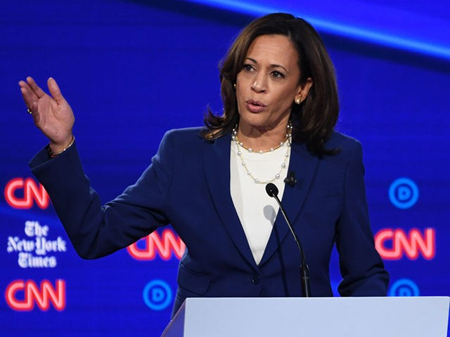 Democratic presidential hopeful California Senator Kamala Harris speaks during the fourth Democratic primary debate of the 2020 presidential campaign season co-hosted by The New York Times and CNN at Otterbein University in Westerville Ohio on October 15