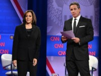 Democratic presidential hopeful California Senator Kamala Harris (L) speaks on stage alongside CNN moderator Chris Cuomo during a town hall devoted to LGBTQ issues hosted by CNN and the Human rights Campaign Foundation at The Novo in Los Angeles on October 10, 2019. (Photo by Robyn Beck / AFP) (Photo …