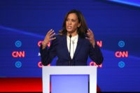 WESTERVILLE, OHIO - OCTOBER 15: Sen. Kamala Harris (D-CA) speaks during the Democratic Presidential Debate at Otterbein University on October 15, 2019 in Westerville, Ohio. A record 12 presidential hopefuls are participating in the debate hosted by CNN and The New York Times. (Photo by Win McNamee/Getty Images)