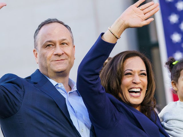 OAKLAND, CA - JANUARY 27: U.S. Senator Kamala Harris (D-CA) waves to her supporters with her husband, Douglas Emhoff and her niece, Amara Ajagu, 2, during her presidential campaign launch rally in Frank H. Ogawa Plaza on January 27, 2019, in Oakland, California. Twenty thousand people turned out to see …