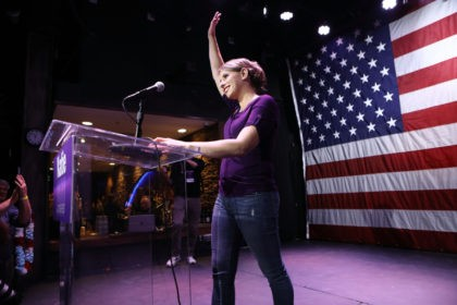 SANTA CLARITA, CA - NOVEMBER 06: Democratic Congressional candidate Katie Hill waves to supporters at her election night party in California's 25th Congressional district on November 6, 2018 in Santa Clarita, California. Republican incumbent U.S. Rep. Steve Knight is competing against Hill for his seat in the district in a …
