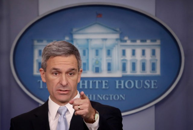 WASHINGTON, DC - AUGUST 12: Acting Director of U.S. Citizenship and Immigration Services Ken Cuccinelli speaks about immigration policy at the White House during a briefing August 12, 2019 in Washington, DC. During the briefing, Cuccinelli said that immigrants legally in the U.S. would no longer be eligible for green …