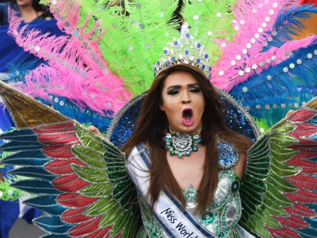 A person joins thousands of Nicaraguan anti-government protesters, including members of the Lesbian, Gay, Bisexual, Transgender/Transsexual and Intersexed (LGBTI) movement, in an national LGBTI march for Justice and Democracy, in Managua on June 28, 2018. - Nicaraguan human rights groups expressed renewed concern earlier this week over a rising death …