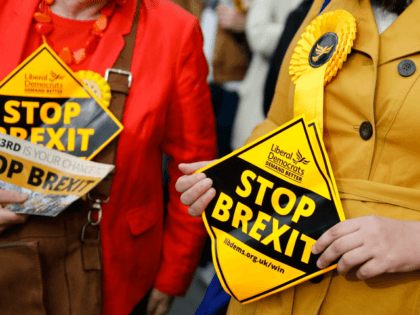 """Liberal Democrats party activists hold """"Stop Brexit"""" leaflets as they canvas for support for their party's candidates in the forthcoming European elections, in London on May 22, 2019. (Photo by Tolga Akmen / AFP) (Photo credit should read TOLGA AKMEN/AFP/Getty Images)"""