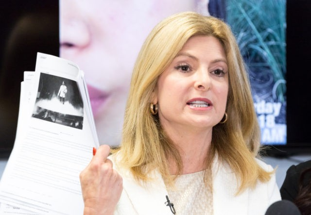 WOODLAND HILLS, CA - MARCH 13: Attorney Lisa Bloom, representing Andrea Buera who is accusing Trey Songz of assaulting her, speaks during a press conference at The Bloom Firm on March 13, 2018 in Woodland Hills, California. Buera has already obtained a restraining order based on the alleged assault that …