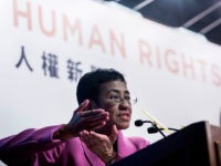 Maria Ressa, co-founder and CEO of the Philippines-based news website Rappler, speaks at the Human Rights Press Awards at the Foreign Correspondents Club of Hong Kong on May 16, 2019. - Currently free on bail after her second arrest this year, Ressa spoke on the dangers she and her colleagues …