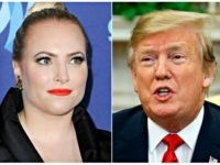 This combination photo shows TV personality Meghan McCain at the 26th Annual GLAAD Media Awards in Beverly Hills, Calif. on March 21, 2015, left, and President Donald Trump in the Oval Office of the White House in Washington on March 7, 2019. Meghan McCain says President Donald Trump's life is …