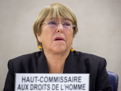 UN Human Rights High Commissioner Michelle Bachelet takes part in the opening session of a United Nations Human right council on September 9, 2019 in Geneva. (Photo by FABRICE COFFRINI / AFP) (Photo credit should read FABRICE COFFRINI/AFP/Getty Images)