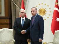 In this handout image provided by the Turkish presidency, Turkish President Recep Tayyip Erdogan receives U.S. Vice President Mike Pence at Presidential Complex in Ankara, Turkey on October 17, 2019. (Photo by Murat Cetinmuhurdar/Turkish Presidency via Getty Images)
