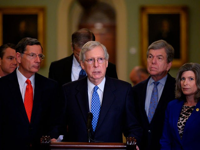 US Senate Majority Leader, Mitch McConnell (R-KY), speaks during a press conference with other Republican leaders on Capitol Hill in Washington, DC on October 22, 2019. (Photo by Andrew CABALLERO-REYNOLDS / AFP) (Photo by ANDREW CABALLERO-REYNOLDS/AFP via Getty Images)