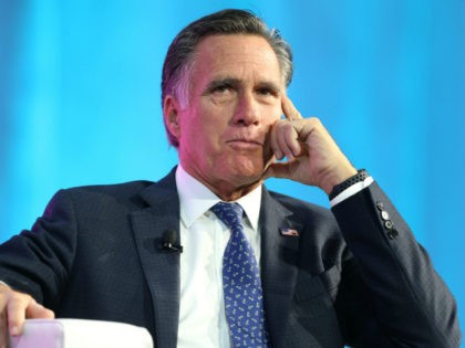 Former Massachusetts Governor and Republican presidential candidate Mitt Romney is interviewed at the Silicon Slopes Tech Conference on January 19, 2018 in Salt Lake City, Utah. There is a push for Romney to run for the Utah Senate seat being vacated by retiring Senator Orrin Hatch this year. (Photo by …