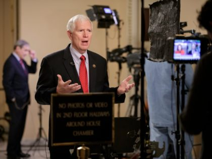 Rep. Mo Brooks, R-Ala., a member of the conservative Freedom Caucus responds during a TV interview on Capitol Hill in Washington, Thursday, March 23, 2017, as recalcitrant GOP lawmakers are being urged by House Speaker Paul Ryan to support the Republican health care bill when it goes to the floor …