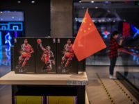 BEIJING, CHINA - OCTOBER 09: A Chinese flag is seen placed on merchandise in the NBA flagship retail store on October 9, 2019 in Beijing, China. The NBA is trying to salvage its brand in China amid criticism of its handling of a controversial tweet that infuriated the government and …