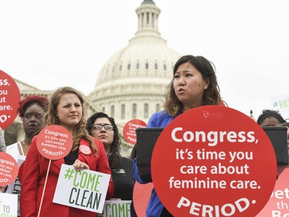 IMAGE DISTRIBUTED FOR SEVENTH GENERATION - Rep. Grace Meng, D-N.Y., speaks at a Women's Voices for the Earth's women's health rally supported by Seventh Generation on the grounds of the Capitol on Tuesday, May 23, 2017, in Washington. Rep. Meng introduced the Menstrual Products Right to Know Act which calls …