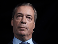 MAIDSTONE, ENGLAND - SEPTEMBER 26: Leader of the Brexit Party Nigel Farage speaks during the Brexit Party Conference tour at the Kent Event Centre, Kent Showground on September 26, 2019 in Maidstone, England. The rally is part of a nationwide conference tour in which Nigel Farage will address audiences around …