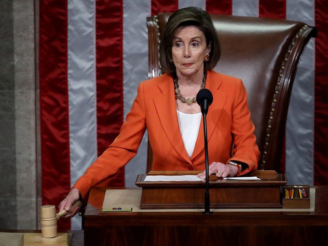 WASHINGTON, DC - OCTOBER 31: Speaker of the House Nancy Pelosi (D-CA) gavels the close of a vote by the U.S. House of Representatives on a resolution formalizing the impeachment inquiry centered on U.S. President Donald Trump October 31, 2019 in Washington, DC. The resolution, passed by a vote of …