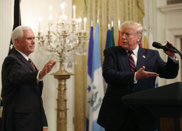 WASHINGTON, DC - SEPTEMBER 27: U.S. President Donald Trump invites Vice President Mike Pence to speak during a reception to honor Hispanic Heritage Month, in The East Room at the White House on September 27, 2019 in Washington, DC. (Photo by Mark Wilson/Getty Images)