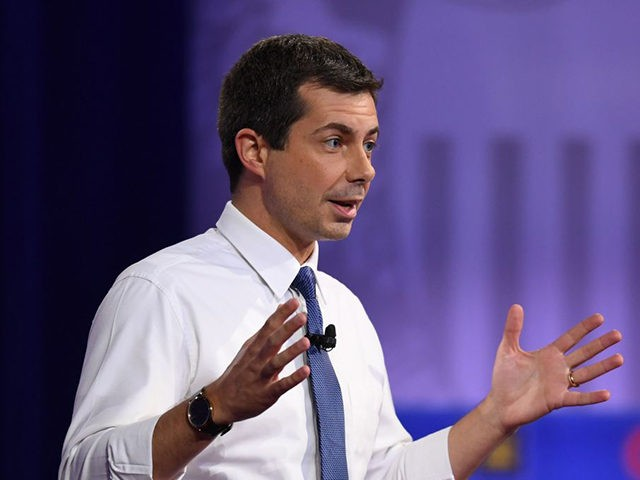 Democratic presidential hopeful Mayor of South Bend, Indiana Pete Buttigieg gestures as he speaks during a town hall devoted to LGBTQ issues hosted by CNN and the Human rights Campaign Foundation at The Novo in Los Angeles on October 10, 2019. (Photo by Robyn Beck / AFP) (Photo by ROBYN …