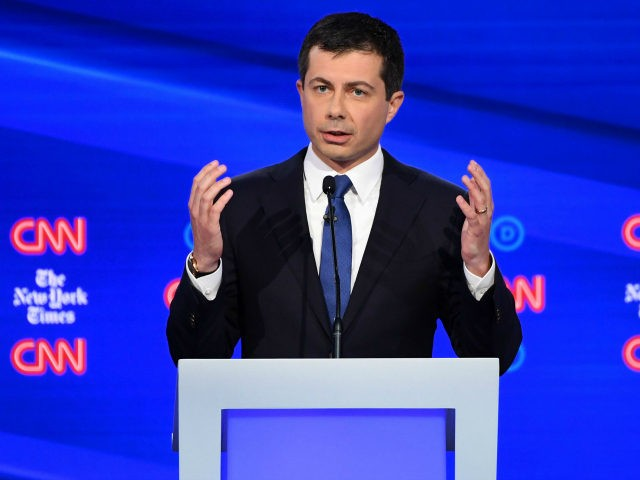 Mayor of South Bend, Indiana Pete Buttigieg speaks onstage during the fourth Democratic primary debate of the 2020 presidential campaign season co-hosted by The New York Times and CNN at Otterbein University in Westerville, Ohio on October 15, 2019. (Photo by SAUL LOEB / AFP) (Photo by SAUL LOEB/AFP via …