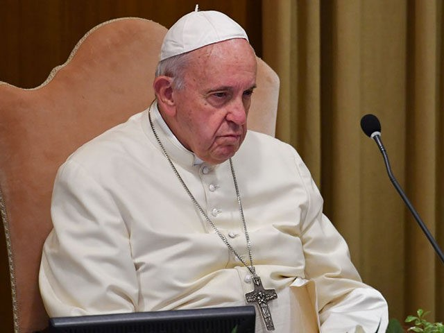 Pope Francis looks on during the morning session, on the second day of the Special Assembly of the Synod of Bishops for the Pan-Amazon Region on October 8, 2019 in the Vatican. - Pope Francis is gathering Catholic bishops at the Vatican to champion the isolated and poverty-struck indigenous communities …