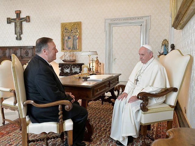 Pope Francis with Mike Pompeo