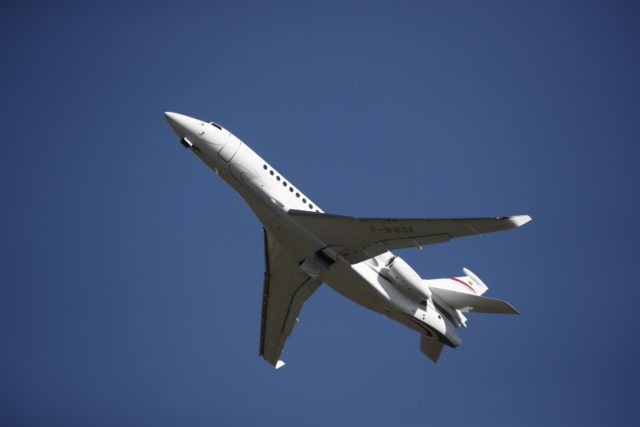 A Dassault Falcon 8X jet flies during the inauguration of the 53rd International Paris Air Show at Le Bourget Airport near Paris, France, on June 17, 2019. (Photo by BENOIT TESSIER / AFP) (Photo credit should read BENOIT TESSIER/AFP/Getty Images)