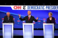 WESTERVILLE, OHIO - OCTOBER 15: Sen. Bernie Sanders (I-VT), former Vice President Joe Biden, and Sen. Elizabeth Warren (D-MA) on stage during the Democratic Presidential Debate at Otterbein University on October 15, 2019 in Westerville, Ohio. A record 12 presidential hopefuls are participating in the debate hosted by CNN and …