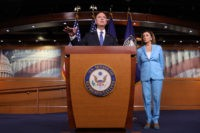 WASHINGTON, DC - OCTOBER 02: House Select Committee on Intelligence Chairman Rep. Adam Shiff (D-CA) and Speaker of the House Nancy Pelosi (D-CA) answer questions at the U.S. Capitol October 2, 2019 in Washington, DC. Pelosi and Schiff updated members of the media on the latest developments related to the …