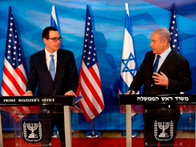 Israeli Prime Minister Benjamin Netanyahu speaks during a joint press conference with US Treasury Secretary Steven Mnuchin (L) in Jerusalem October 28, 2019. (Photo by RONEN ZVULUN / POOL / AFP) (Photo by RONEN ZVULUN/POOL/AFP via Getty Images)