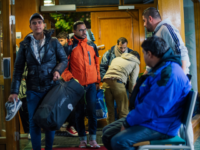 Refugee's arrive to Stockholm central mosque on October 15, 2015 after many hours bus journey from the southern city of Malmo. Since September, Islamic Relief Sweden welcomes newly arrived refugees at the Stockholm central mosque for one or two nights before they seek asylum in Sweden or travel further to …