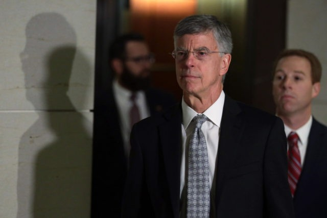 WASHINGTON, DC - OCTOBER 22: Bill Taylor, the top U.S. diplomat to Ukraine, arrives at a closed session before the House Intelligence, Foreign Affairs and Oversight committees October 22, 2019 at the U.S. Capitol in Washington, DC. Taylor was on Capitol Hill to testify to the committees for the ongoing …