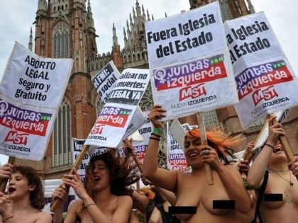 Topless abortion protest