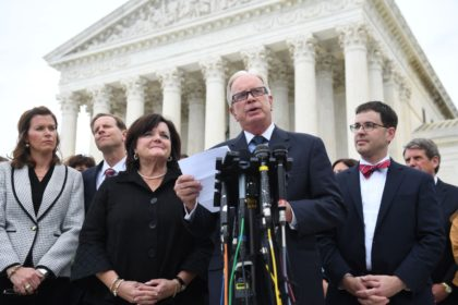 Funeral home owner Tom Rost speaks outside the US Supreme Court in Washington, DC, October 8, 2019, as the Court holds oral arguments in three cases dealing with workplace discrimination based on sexual orientation. - Thomas Rost, owner of RG & GR Harris Funeral Homes in Garden City, Michigan, is …